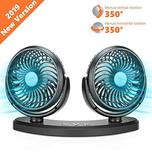 COMLIFE Ventilatore Automobile Dual-Head Regolabile USB 5V / 2A Girevole 3 Velocità per Desktop,...