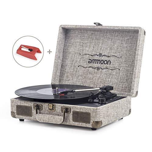 ammoon Platine Vinyle Bluetooth, Tourne Disque Retro Portable 33/45/78 TR/Min avec des Haut-parleurs Stéréo, Encodage du Vinyle au MP3, SD/ USB/ Aux Entrée/ Sortie RCA