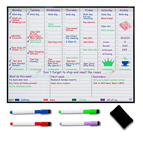 Lavagna magnetica per frigorifero, planner settimanale, planner settimanale, planner per la...