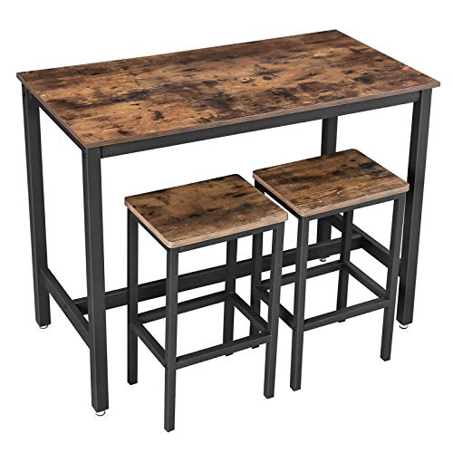 VASAGLE Bartisch-Set, Stehtisch mit 2 Barhockern, Küchentresen mit Barstühlen, Küchentisch und Küchenstühle im Industrie-Design, für Küche, 120 x 60 x 90 cm, Vintage, dunkelbraun LBT15X