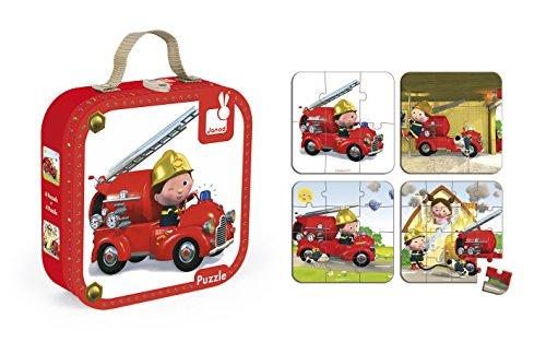 Janod 4 Puzzle 6/9/12/16 Pezzi in Valigetta, Camion Pompieri Leon, J02882