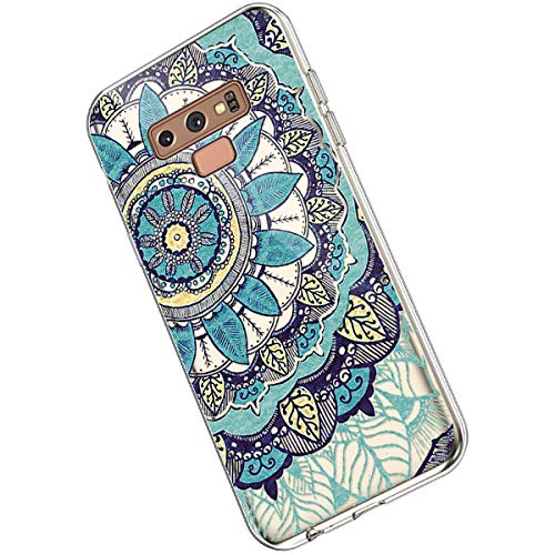 Ukayfe Compatible con Samsung Galaxy Note 9 Custodia,Trasparente Silicone con Disegni Fiore di...