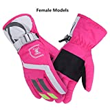 AONIJIE Winter Men and Women Adult Outdoor Touch Screen Climbing Gloves winter warm Thickening Waterproof Skiing Riding Gloves, Pink, Women