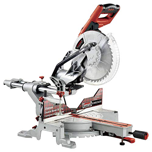 At the price, this is a very good mitre saw. It has one of the most powerful mitre saw motors along with very high speeds. Its double bevel system ensures that angled cuts can be made easily without you tampering with the position of the workpiece. This compound saw with sliding function can handle a whole lot in terms of cutting depth and width. The blade is fairly decent and the solid base offers the much-needed support when cutting material.