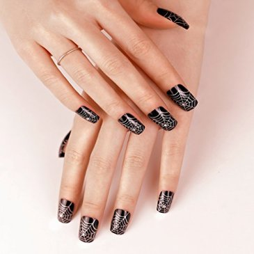 ArtPlus Faux Ongles 24pcs Halloween Gothic Black Silver with Crystals False Nails Premium Pack French Manicure Full Cover Long Length with Glue Fake Nails Art