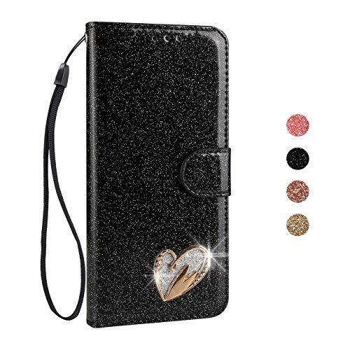 BoRan Funda Galaxy S7 Edge Piel, Carcasa S7 Edge Case Corazón de Amor con Diseño de Cristal Soporte Plegable+Ranuras para Tarjetas+Cierre Magnético Compatible for Samsung Galaxy S7 Edge - Negro