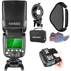 Neewer Kit de Flash Speedlite 2,4 G inalámbrico 1/8000 TTL HSS Master/Slave para cámara Sony con zapato de Mi nuevo, incluye: NW880S Flash, N1T-S, soporte de tipo S, Softbox de 16 x 16 pulgadas, 20 piezas de filtro de Color