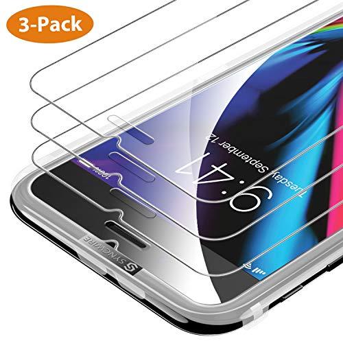 Syncwire [3-Pezzi] Pellicola Vetro Temperato iPhone 8/7 / 6s / 6 HD 9H Durezza, Vetro Temprato Protettiva per Apple iPhone 8/7 / 6s / 6[Infrangibile, Senza Bolle, Adattabile alla Custodia]