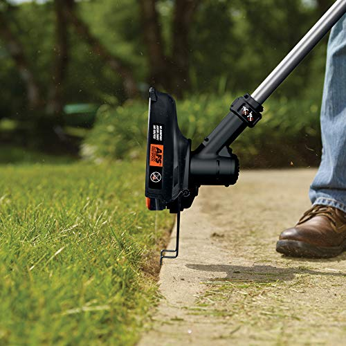 Turbo mode offers an increased power boost that is useful when dealing with tough overgrowth. Because of this dynamism, the Black + Decker Strimmer is appreciated by many avid gardeners and is probably one of the most popular cordless strimmers, if not the most popular. On Amazon alone it has over 1000 reviews In addition, this strimmer not only trims grass but it can also convert into an edging tool which is very useful for tidying the edge of lawns.