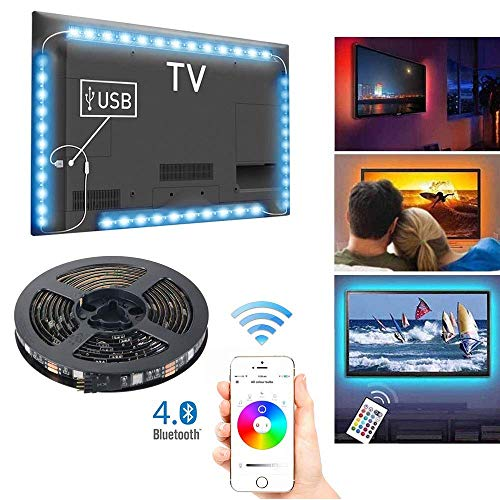 Retroilluminazione TV LED con controllo APP Bluetooth, 4 x 0,5 m Multicolore RGB Musica Luce...