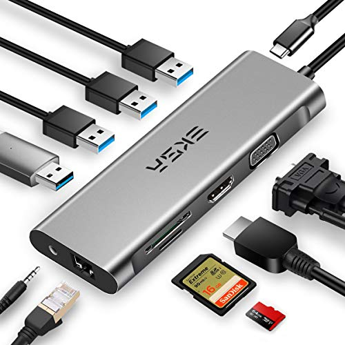 EKSA USB C Hub, 11 in 1 USB Type C Multiport Adapter for MacBook Pro and Other Type C Laptops, 4K USB C to HDMI, VGA, 4 USB Ports, Gigabit Ethernet, SD/TF Card Reader, Audio Port and Power Delivery