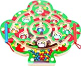 TOWO Wooden Magnetic Labyrinth for Children Number Puzzle Math Puzzle - Magnetic Maze Wooden Puzzle for Children 3 years old