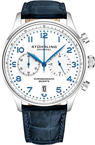 Stuhrling Original Mens Quartz Chronograph Dress Watch - Edelstahlgehäuse und Lederband - Analoges Zifferblatt mit Datumsanzeige GR1-Q Herrenuhrenkollektion (Blue)