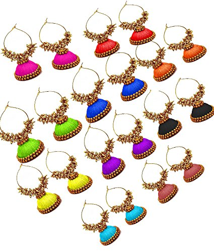 Hot Selling Silk Thread Earrings jhumka with Gold Loreal For Women - Green,  Pink, Red, Purple, Violet, Orange, Marron, Magenta, Black, Blue, Grey,