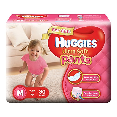 Huggies Ultra Soft Pants Diapers for Girls, Medium (Pack of 30)