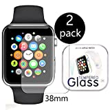 TaoNaisi LLL036[2 pack] Apple Watch 38mm Smart Watch pellicola protettiva, [tempered glass] Durezza 9H, anti polvere, fingerprint free