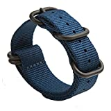 Gemony Nato Strap 5 Anelli acciaio inossidabile spazzolato con fibbia in Nylon Zulu cinturino per orologio Dive Larghezza 20mm & 22mm