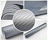 3,22€/m² 3D Carbon Folie - Silber - 100 x 152 cm selbstklebend flexibel Car Wrapping Folie