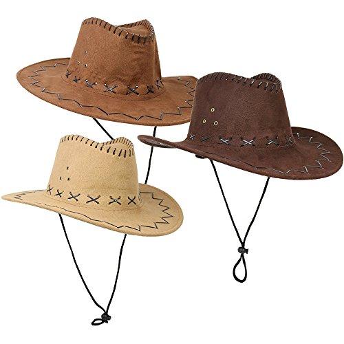 com-four® 3x Cowboyhüte für Erwachsene in verschiedenen Farben für z.B. Kostüm Set für Fasching, Karneval, Halloween (03 Stück - Cowboy)