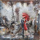 Tableau Métal 3D. Art Métal Peint en Relief. Dimensions 40 X 40 X 7 cm. Décoration Murale Métallique. Tableau Métal Paris Romantique Tour Eiffel. Décoration Design Contemporaine. Exclusivité. En Stock