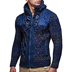 LEIF NELSON cardigan Chaqueta hombres tejer suŽter LN20225 Chaqueta, Azul, Large