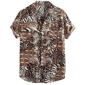 UINGKID-Herren-T-Shirt-Kurzarm-Slim-fit-Mens-Printed-Loose-Patchwork-Brusttasche-Umlegekragen-Shirts