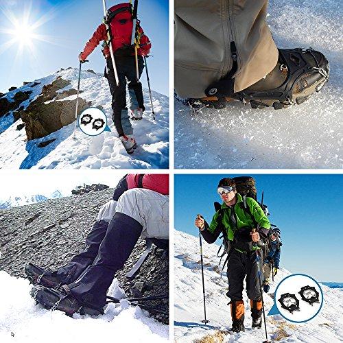 Terra Hiker Crampones con 18 Dientes-Pinchos Tacos de Tracción de Acero Inoxidable y Anti Deslizante en Hielo Estabilizadores para Caminar Correr Escalar sobre Nieve o Hielo Negro 6