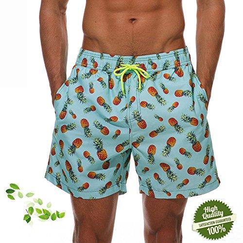 DOTBUY Elegante Bañadores para Hombre, Secado Rápido Verano Ocasional De Los Hombres Imprimió Transpirable Pantalones Cortos Surf Playa Verano Vacaciones Traje de Baño (XXL, Piña)