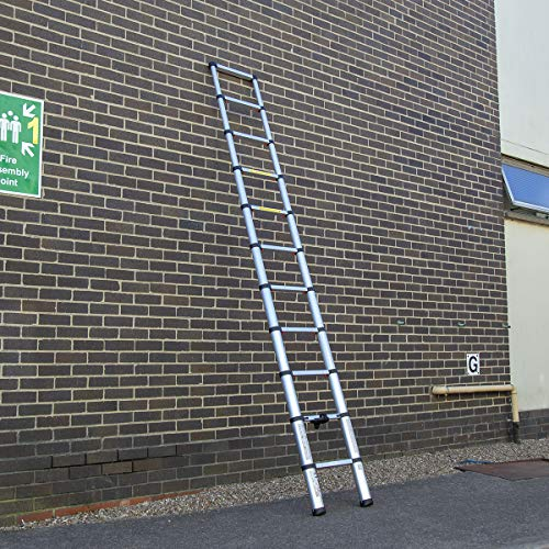 Charles Bentley 3.2m Telescopic Extendable Ladder fully extended to full height