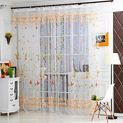 Koly Cortina Sheer de mariposa Tratamiento de la ventana de Tulle Voile Drape Valance 1Panel Fabric Butterfly cortinas Visillos gasa de Tulle de la cortina de ventana ,270cm x 100cm (B)