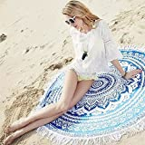 HAPPY ELEMENTS Indian Mandala Round Roundie Tapestry Beach Towel Tablecloth Bed Sheet Yoga Mat (blau)