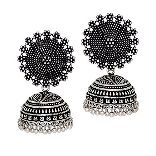 Jaipur Mart Oxidised Silver Plated handmade Jhumka Jhumki Earrings For Women