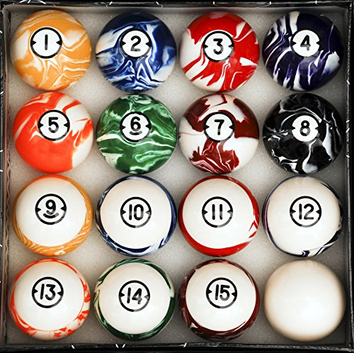 Pool Table Billiard Ball Set, Classic Marble Style