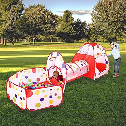 MAIKEHIGH Interior/Exterior túnel del Juego y la Tienda del Juego de Cubby de Tubo Tipi 3 en 1 Zona de Juegos Infantil para bebés Juguetes para niños Bolas NO Incluido (3 en 1 Juego Carpa y Túnel)