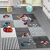 Alfombra infantil (Mundo pirata Cofre del Tesoro Papagayo parte habitaciones cuadros gris antracita, 160 x 220 cm
