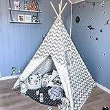 Tiny Land® Tenda Bambini Teepee per Ragazzi, 1,6 m Grigio Chevron Tenda per Bambini Giochi per Interni Decorazioni