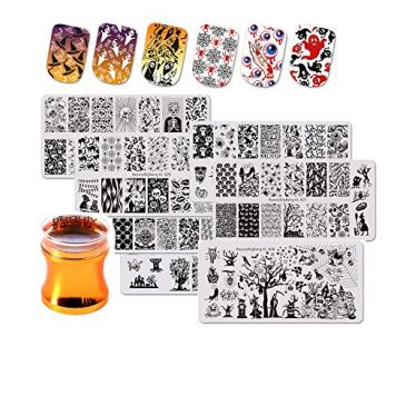 Beautybigbang  Lot de 7 plaques de stampingpour Nail Art, motifs Halloween + Tampon stamping en silicone, motifs tête de mort, araignée, citrouille