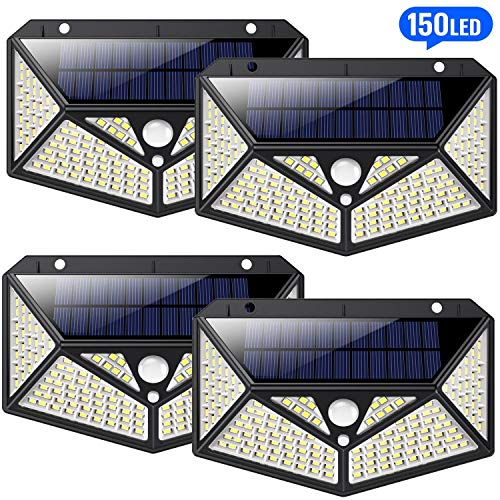 HETP 150 led Luci Solari Esterno 4 Pezzi [Illuminazione Omnidirezionale a Sei Lati] Luce Solare Lampada solare con Sensore di Movimento Impermeabile ip65 Luci da Esterno Energia Solare illuminazione
