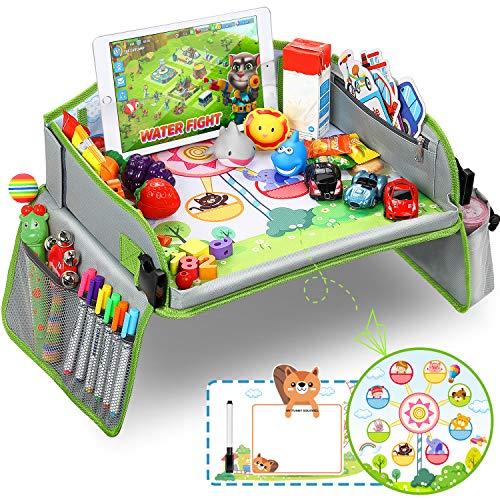 Vassoio di Viaggio per Auto da Toddler, Lenbest Snack e Vassoio per Bambini per Ruota Panoramica - 1 Penna di Bordo & Tavola da Disegno Riutilizzabile su Entrambi i Lati - Auto/Passeggino/Aereo