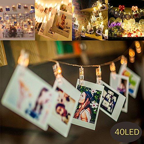 MMTX 40 LED Foto Clips Stringa Illuminazione per Luci Natalizie Peg per Camera da Letto Appendere,...