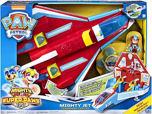 PAW PATROL 6053098 Super Paws, 2-in-1 Transforming Mighty Pups Jet Command Center con luci e Suoni (2019)