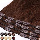 S-noilite Extensiones de clip de pelo natural cabello humano #04 Marrón medio - 100% Remy hair - 8...