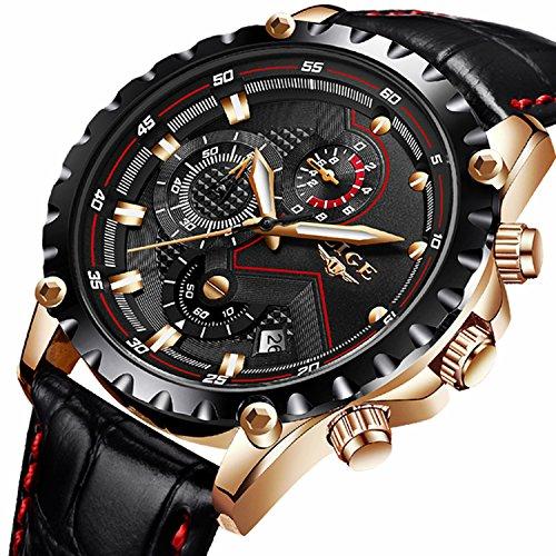 Herren-Armbanduhr Wasserdicht Military Sport Analog Armbanduhr Business Casual Kleid Qurtz Armbanduhr Lederband mit Chronograph Datum Kalender