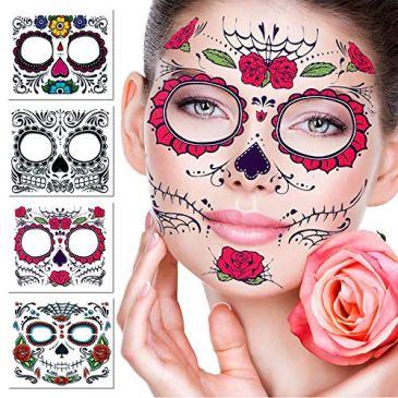 Tatouage temporaire du visage, 4 Kits Tattoos Stickers Crâne De Sucre Jour du Maquillage Mort, Tattoo Design Rose pour Halloween, mascarade et fêtes