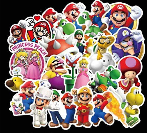 DZCYAN 100 pz/Set colorato Super Mario Sticker per Laptop Skateboard Cartoon Super Mario Adesivi Fai...