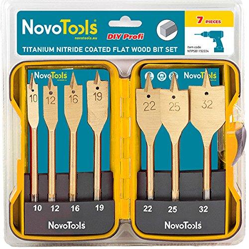 NOVOTOOLS - Juego de brocas de madera planas con revestimiento de nitruro de titanio (7 piezas)