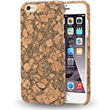 NALIA Corcho Funda para iPhone 6 6s, Aspecto de Madera Carcasa Dura Ultra-Fina Hard-Case Cover, Cubierta Protectora Delgado Bumper para Telefono Movil Apple i-Phone 6s 6, Designs:Cork Pattern