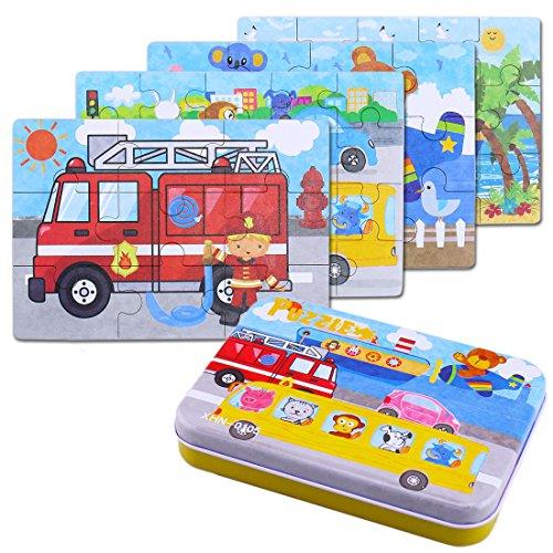 BBLIKE Jigsaw Puzzle in Legno Giocattolo in Una Scatola per i Bambini, Confezione da 4 con...