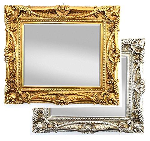 Wandspiegel Antik / Barock Spiegel Silber 60x70cm mit Facettenschliff, Vintage Antik Rahmen Look Handarbeit Massiv