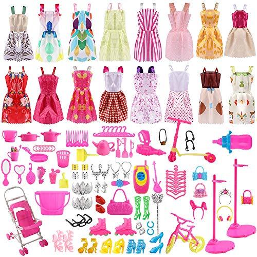 ASANMU 130 Pezzi Vestiti e Accessori per Barbie Dolls, Abito per Barbie Gonna Moda Scarpe Oggetto Rosa Grucce per Barbie Dolls Accessori per della Ragazza Compleanno Regalo Natale Giorno dei Bambini